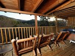 Rocking Chairs and Hot Tub on Back Deck
