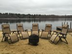 Beach, fire pit, dock and beach chairs