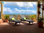 Enjoy the Tropical Sun & Amazing Caribbean Sea Views from Relaxing Chaise Lounge Chairs