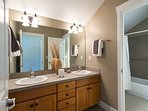 Spacious upstairs bathroom is shared by Bedrooms 1 and 2