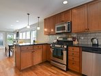 The kitchen is modern and well equipped, with gas stove and stainless steel appliances.  Lots of gourmet meals have...