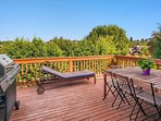 The fabulous view deck is accessed from the living area; Dining al fresco is a great option much of the year, and there...