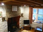 Lovely fireplace with multi-fuel stove (fuel included)