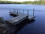 Sheltered dock for mooring your boat or entering and exiting our canoe or kayak