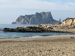 Moraira beach and the Penon d'Ifach at Calpe
