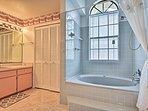 Take a long soak in the deep bathtub!