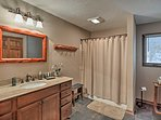 The home includes 3 full bathrooms and 2 half baths.