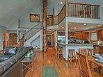 Vaulted ceilings create a spacious interior.