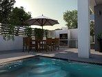 Heated pool with massage 7,5m x 3,5m