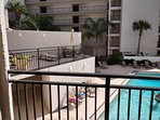 View of 2nd story pool deck, just outside our unit. Great for checking on the family