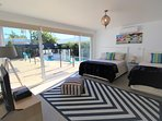 Pool house with Aircon, Queen, King Single, TV, Xbox and bathroom