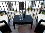 Neat balcony! Perfect relaxation with wine, coffee or breakfast.