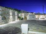 Mykonos Art Villas. Back yard & parking area.