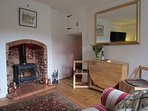Dining table and wood burner