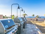 Royal Mauian's roof top garden has 4 new Weber gas grills and 360 degree views.