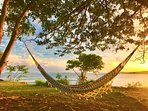 Hammock overlooking the sunset