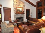 Great room with vaulted ceiling at our Larkspur Deer Valley home