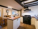 Kitchen - large, spacious, well-equipped with solid oak kitchen table & 4 chairs