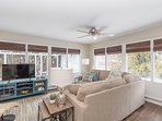 Living room overlooks patio  and back yard. Cable TV with HBO & blue-ray player