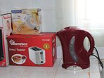 Kitchen: Coffee maker, toaster, hand mixer, and electric kettle