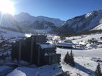 View from balcony looking up the valley to the Solaise ski area
