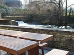 View of the weir from the patio