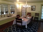 Dining room with window seat