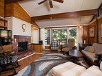 View of family room with gas fireplace