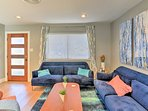 Relax on the living area's plush furnishings.