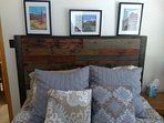 Master bedroom with rustic headboard