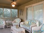 The screen porch invites you to curl up with a book. Enjoy your morning cup of coffee or your afternoon cocktail out...