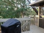 Step to the deck where you can barbecue on the gas grill.