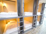 this room can occupied 8 persons. it is nice for group traveller or solo traveller to meet friends.