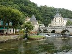 Brantôme with the Abbey, the old stone bridge, weir and pretty mill, now a restaurant.