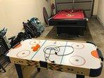 Air Hockey Table, Pool Table, Dart board