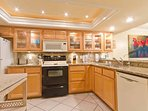 The kitchen is fully stocked with everything you might need for a great meal.