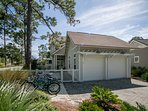 Driveway fits 2 cars plus there is use of the right side of the garage; it also has a convenient bike rack; front...