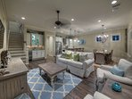 Panoramic view of the first floor open concept living space