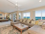 Downstairs family room featuring ocean views
