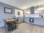 And a sleek kitchen.