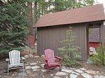 Backyard, with adirondack chairs