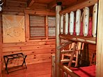 This wooden chalet has many places for you to enjoy some downtime.