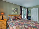 Enjoy access to the private patio from the first bedroom!
