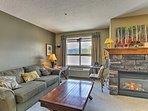 Relax by the gas fireplace in the living room.
