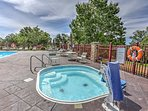The outdoor hot tub is handicap accessible!