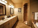 Spacious master bath and walk-in closet