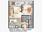 Floor plan example.  See our descriptions and photos for actual placement of furniture in the condo.