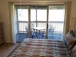 The screened in patio balcony over looks ICW waterway & Tidewaters  8th & 9th & 18th holes.