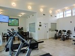 Fitness room and office.
