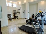 Fitness room with restroom for your use while at the pool, fitness area, or grilling area.